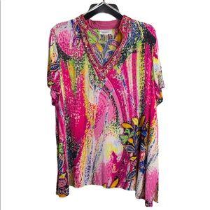 Bright Floral dress barn top sz 1X